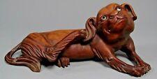 Very Fine China Chinese Carved Wood Pekingese Dog w/ Glass Eyes ca. 19-20th c.