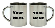 Personalised 300ml Stainless Steel CAMPING MUG Tumbler COFFEE mug -text photo