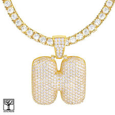 """H Initial Custom Bubble Letter Gold Plated CZ Pendant 24"""" Tennis Chain Necklace"""