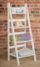 White Ladder Book Shelf Shelving 4 Tier Bookcase Standing Shelves Display S