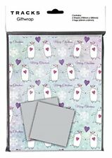 Christmas Wrapping Paper & Tags Gift Wrap Printed - Penguins & Hearts