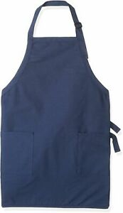 Augusta Sportswear Adult Full Length Apron with Pockets, White/Royal, OS