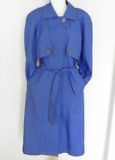 Vtg J.gallery rain/ trench coat Blue Poly Belted Size L