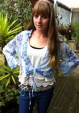 Kimono Wrap Around Tie Blue Top Shirt Blouse Designer Free Size 8 To 16