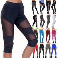 Womens Sports YOGA Pants Workout Gym Fitness Mesh Leggings Athletic Apperal X36