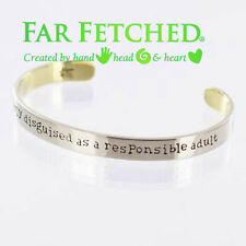Quote Bracelet CLEVERLY DISGUISED AS A RESPONSIBLE ADULT Silver Cuff Bracelet