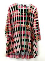 Nally & Millie Women's Small Crew Neck Long Sleeve Patterned High Low Tunic