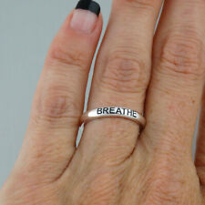 Breathe Stackable Band Ring - 925 Sterling Silver -Inhale Exhale Relax Encourage