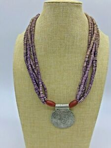 Chunky Beaded Silver Medallion Statement Necklace 22 inches