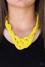 knotted seed bead Necklace w/earring Paparazzi Jewelry sunny yellow twisted