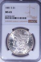 1881-S Morgan Silver Dollar MS 65 NGC LF1304/JLH