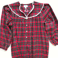 LANZ of SALZBURG Flannel Henley Nightgown Red Plaid Long Gown 100% Cotton SIZE M
