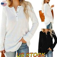 Women Casual V-neck Long Sleeve Shirt Collar Ladies Loose T-Shirt Blouse Tops US
