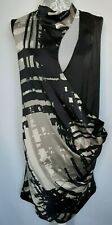 Jasper Conran Dress UK 12 Black Grey Geometric Shift Draped Cross Over Sleeveles