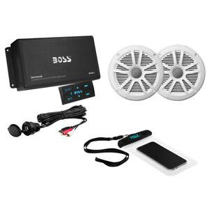 Boss Audio ASK902B.6 Package w/4-Channel Bluetooth Amplifier w/Remote, 2 MR6W...
