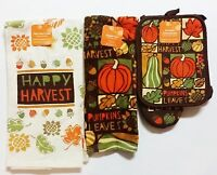 Fall THANKSGIVING Kitchen Towel Set HAPPY HARVEST *3 PACK* OVEN MITT *FAST SHIP