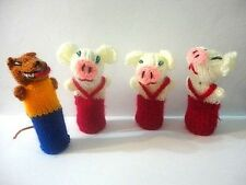 The Three Little Pigs & the Wolf 5 Peruvian Wool Set 4 Finger Puppet Toy Peru