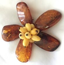 Handcrafted Baltic Amber with Butterscotch Amber Flower Silver Pin & Shipping