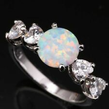 Beautiful White Fire Opal Sterling Silver Plated Ring Size M.