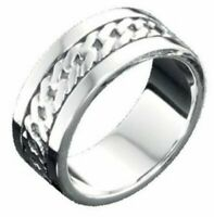 Fred Bennett 925 Polished Sterling Silver Band Men's Curb Chain Link Design Ring