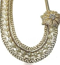 """Multi strand  necklace gold tone chain faux-pearls rhinestones flower 22"""" Nice!!"""