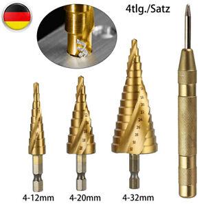 4Tlg Stufenbohrer Set HSS Spiralnut Schälbohrer Konusbohrer Metallbohrer Bohrer