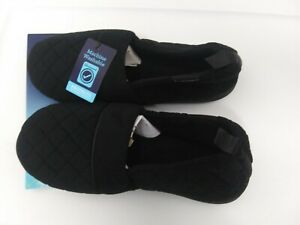 Isotoner Signature Women's Large Black Quilted Memory Foam Slippers NEW 8.5-9