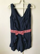 Friends Couture Playsuit Jumpsuit SiZe 12 Blue Red White Polka Dots Belt
