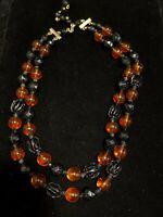 Vintage Japan Gold Tone Black Amber Color Bead Multi Strand Choker Necklace