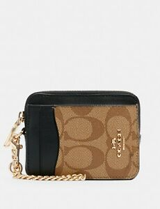 NWT Coach Zip Card Case In Blocked Signature Canvas With Apple Print