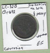 Br692 Imitation UN Sou 1/2 Penny Token - LC-692 - EF (Corrosion)