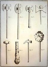 Encyclopédie Méthodique Antiquités Mythologie Armes Haches Marteaux Massues 1786