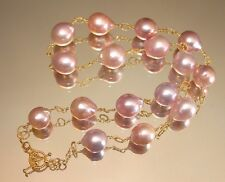 Amazing! Japanese KASUMI PEARL Station Necklace 24K Gold Vermeil on 925 Silver