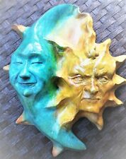 """Ready-to-Hang 10"""" Sun & Moon Figurine-Style Wall Sculpture, by Claybraven"""