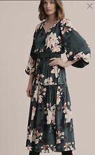 Witchery Pintuck Green Floral Raglan Dress Sz 12 NWT W20