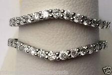 14k White Gold Solitaire Enhancer Diamonds Ring Guard Wrap Wedding Band 0.75ct