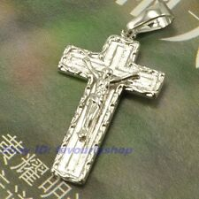 "White Gold Plated Solid Fill Gp Real 1.5"" 3g Crucifix Holy Cross Pendant 18K"