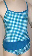 MAILLOT DE BAIN UNE PIECE 7/8 ans 122/128cm bleu vichy blanc fille SWIMWEAR NEUF
