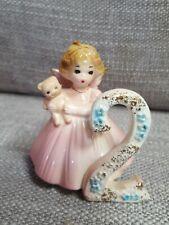 Vintage Josef Originals Birthday Girl Angel Figurine 2 Years Old