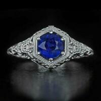 2ct Round Cut Blue Sapphire Vintage Filigree Solitaire Ring 14k White Gold Over