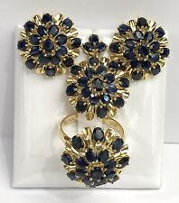 14k Solid Yellow Gold Big Flowers Set Earrings Ring Pendant, Natural Sapphire.