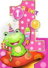 Bebé Niñas 1st Cumpleaños Tarjeta de felicitación de amigos de la selva Die Cut tambaleante tarjetas Eye