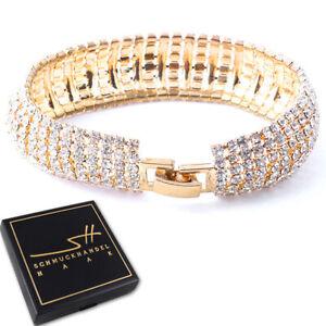 Armschmuck Armband Damen *Zirkonia*, Gold pl Geschenk +Etui, Schmuckhandel Haak®