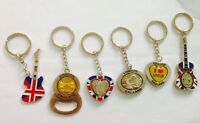 UNION JACK  6 KEY RINGS - ENGLAND SOUVENIRS KEY CHAIN, UJ LONDON KEY RINGS
