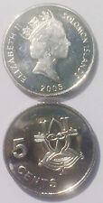 Solomon Islands 5 Cents 2005 Sea Spirit 19mm steel Coin AU 1pcs