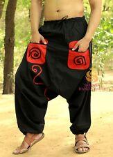 Men's Women Pockets Black Harem Pants Yoga Casual Trousers Genie Hippie Aladdin