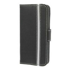 Valenta Booklet Stripe Flip Folio Case Cover For iPhone 5, 5S, SE - Black