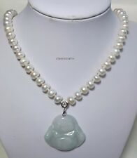 Grade A Jadeite pendant silver freshwater pearl 8-9mm necklace+earing L47 WHT