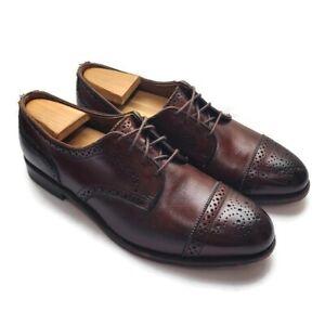 Allen Edmonds Mens 6th Avenue Cap Toe Size 9.5 Dress Shoes Brown Perforated