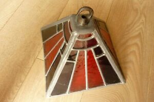 Vintage Beautiful Tiffany Style Leaded Porch Lantern. 185mm High x 250mm Square.